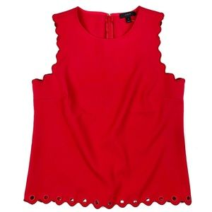 J Crew Scalloped Top With Grommets Red 10